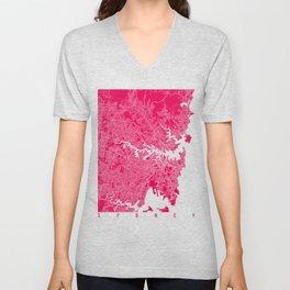 Sydney map raspberry Unisex V-Neck