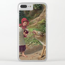 Little Red Riding Hood and the wolf Clear iPhone Case