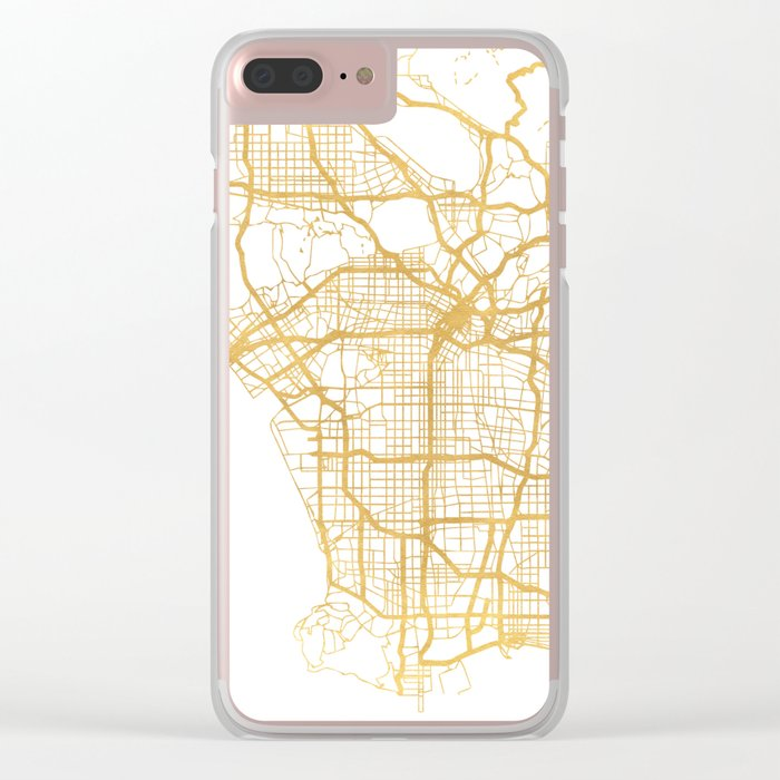 LOS ANGELES CALIFORNIA CITY STREET MAP ART Clear iPhone Case