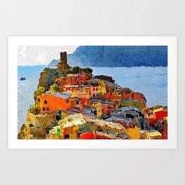 Cinque Terre - Acrylic & Palette Knife Paint on Canvas Art Print