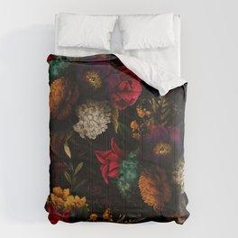 Midnight Hours Dark Vintage Flowers Garden Comforters