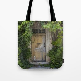 Provence Door covered with green vines Tote Bag