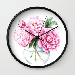 Pink Peony Painting, Watercolor Peony Art, Pink Flower Bouquet Wall Clock