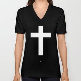 White Cross Unisex V-Neck