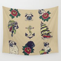 pugs Wall Tapestries featuring Pugs and the sea by Huebucket