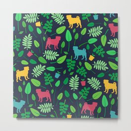 Colorful Pugs with Leaves - Pattern Metal Print