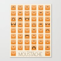 moustache Canvas Prints featuring Moustache by Finlay McNevin