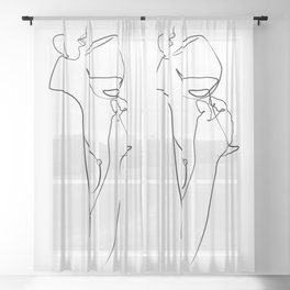 dame ivre-Girl with wine glass  Sheer Curtain