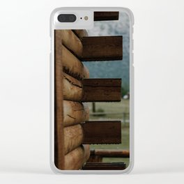 Rainy Cabin Days Clear iPhone Case