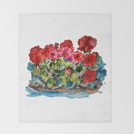 Red Geraniums painting Throw Blanket