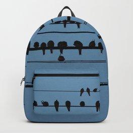 birds on a wire feeling blue Backpack