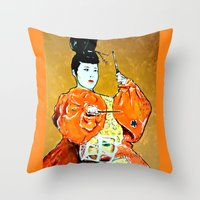 drum Throw Pillows featuring Drum Ceremony by Ron Trickett