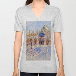 """Auguste Renoir """"The Piazza San Marco, Venice"""" Unisex V-Neck"""
