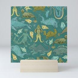Deepsea Cryptids in Sea Green Mini Art Print