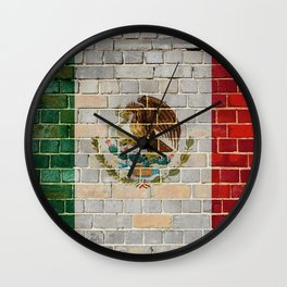 Mexico flag on a brick wall Wall Clock