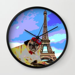 A Pug in Paris Wall Clock