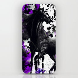 HORSE BLACK AND PURPLE THUNDER INK SPLASH iPhone Skin