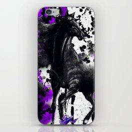 HORSE BLACK AND PURPLE THUNDER INK SPLASH iPhone Skin
