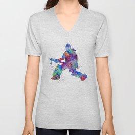 Girl Field Hockey Goalie Watercolor Print Sports Art Gifts Painting Home Decor Unisex V-Neck