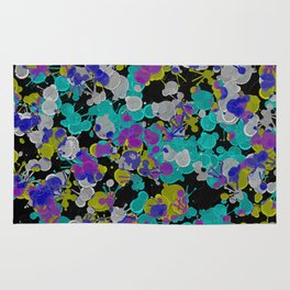 Dark Splatter - Abstract, paint splatter pattern in black, cyan, yellow, white and green Rug