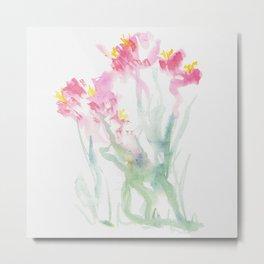 Pink Watercolor Flowers Metal Print
