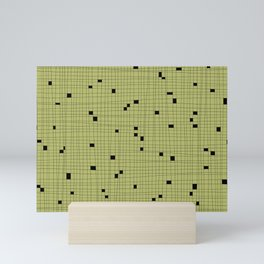 Light Green and Black Grid - Missing Pieces Mini Art Print