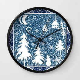 New year's design. Lace fabric . Wall Clock