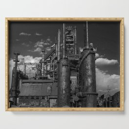 Black and White Bethlehem Steel Blast Furnaces Serving Tray