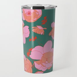 English Roses in Pink and Green Travel Mug
