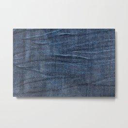 Navy blue jeans cloth textur pattern Metal Print