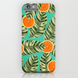 Oranges On Teal Exotic iPhone Case