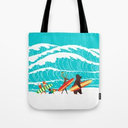 Summer Holiday Surfing Tote Bag