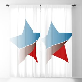 Ombre red white and blue star Blackout Curtain