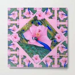 #2 PINK HIBISCUS FLOWERS BLUE-GREEN PEACOCK PATTERNS Metal Print