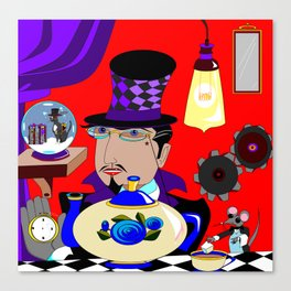 A Steampunk Mad Hattered in Purple with Blue Teapot Canvas Print