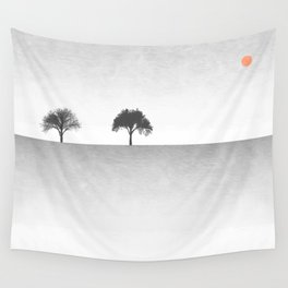 Tree Artwork Grey And Black Landscape Wall Tapestry