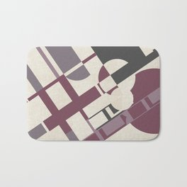 Space Probe Abstract in Mulberry, Aubergine, Mauve and Grey Bath Mat