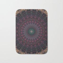 Mandala in dark red and brown tones Bath Mat