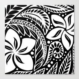 Circular Polynesian White Floral Tattoo Canvas Print