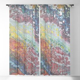 Cellular Colorful Chaos Sheer Curtain