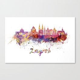Zagreb skyline in watercolor Canvas Print