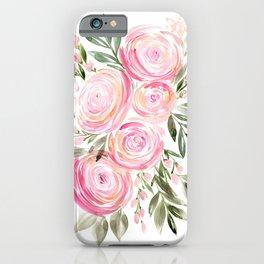 Watercolor ranunculus in pink iPhone Case