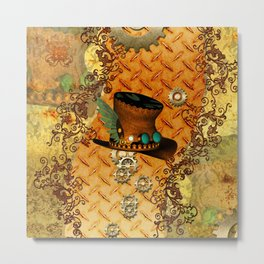 Steampunk, hat with clocks and gears Metal Print