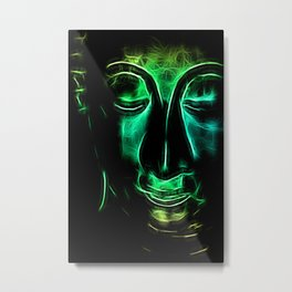 Buddha Facial greencyan Metal Print