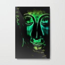 Buddha Facial greencyan Metal Print