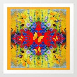 WESTERN  GARDEN  FLOWERS YELLOW BUTTERFLIES PATTERN ART Art Print