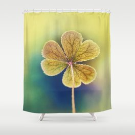 Heart-shaped Clover Oxalis Macro. St Patrick's Day Shower Curtain