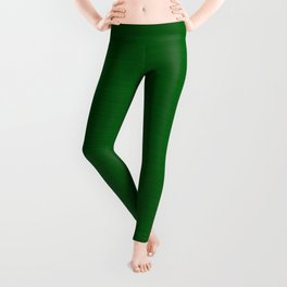 Emerald Green Brush Texture - Solid Color Leggings