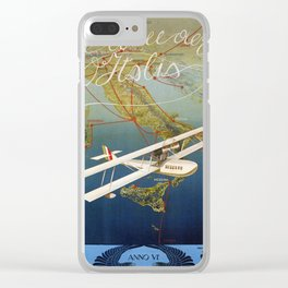 Vintage 1920s Island plane shuttle Italian travel Clear iPhone Case