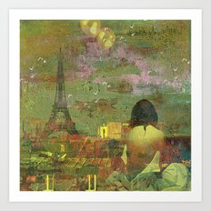 On the roofs of Paris Art Print